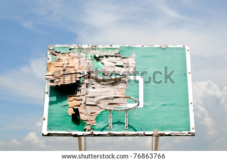 The old and Ruin Basketball board and blue sky