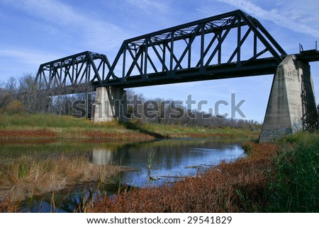 The old Battle River train bridge south of Battleford, Saskatchewan