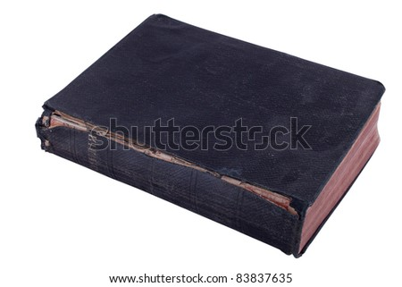 The old Bible is isolated on a white background.