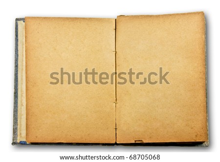 The Old blank book isolated on white background