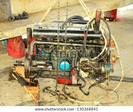 The old boat machine prepare for maintainance