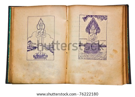 The Old book with vintage line of buddha status. This is traditional and generic style in Thailand. No any trademark or restrict matter in this photo.
