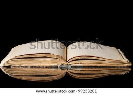 The old books on a black background