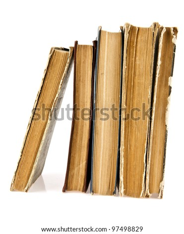the old books on a white background