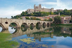 The Old Bridge and Saint Nazaire Cathedral at Beziers, France