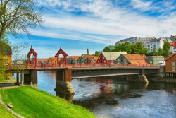 The Old Bridge ( den Gamle Bybro) located in historic center of the city Trondheim, Norway