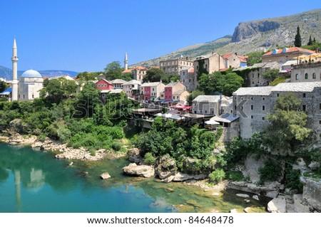 The old bridge (Stari Most) at Mostar, Bosnia and Herzegovina - stock photo
