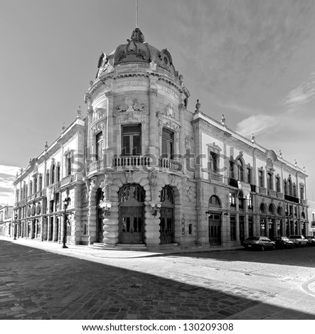 The old building of the Teatro Macedonio Alcala in Oaxaca - Mexico (black and white)