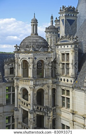 "the old castle ""Chambord"" which is the biggest castle in the river ""Loire"" area, middle of France. Constructed in 16th century, as a temporary palace for the king during hunting."