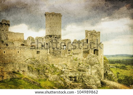 The old castle ruins of Ogrodzieniec fortifications, Poland. Retro image.