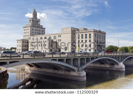 The old Cedar Rapids (Iowa) City Hall sits on an island in the Cedar River.