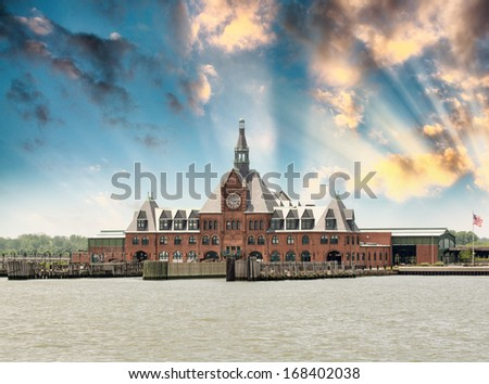 The old Central Railroad terminal in Liberty Park, New Jersey at dusk.
