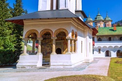 The old Church entrance at the Sinaia Monastery in Transylvania, Romania