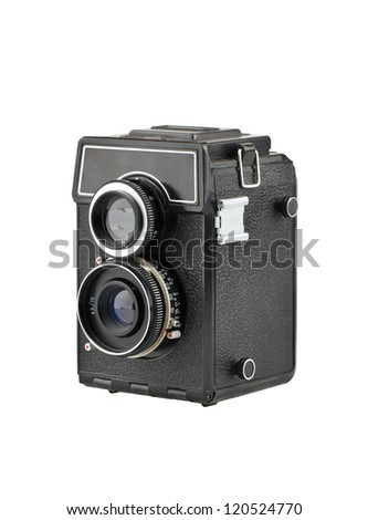 The old classic camera on a white background