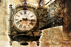 The old clock on the background of rust (double exposure)