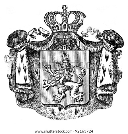 "The old coat of arms of Bulgaria. Engraving by Alwin Zschiesche published on ""Illustrierts Briefmarken Album"", Leipzig, Germany, 1885."