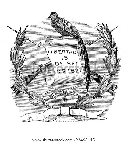 "The old coat of arms of Republic of Guatemala (Central America). Engraving by Alwin Zschiesche published on ""Illustrierts Briefmarken Album"", Leipzig, Germany, 1885."