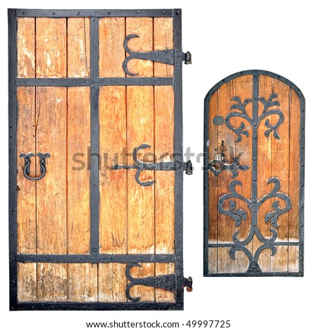 The old doors of monastery are isolated on a white background