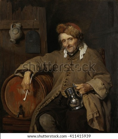 The Old Drinker, by Gabriel Metsu, 1661-63, Dutch painting, oil on panel. Elderly man holding a beer tankard and a long stemmed pipe. A tally of the drinks is chalked on the slate behind him. He lean