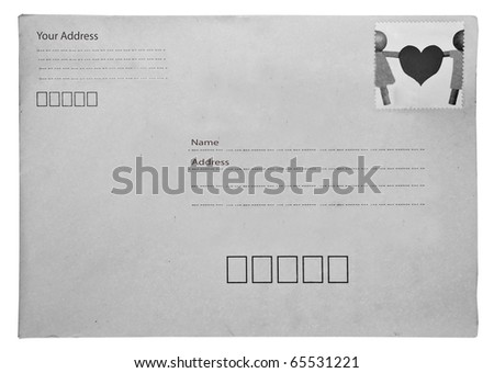 The Old envelope isolated on white background