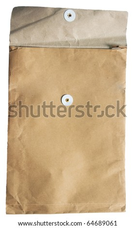 The Old envelope on white background