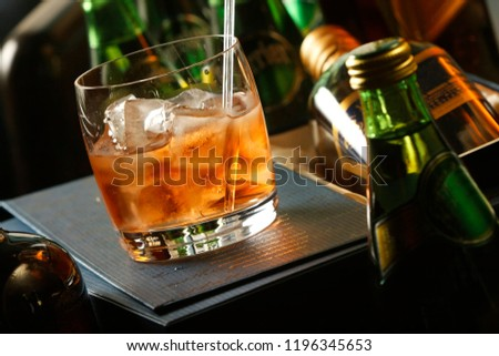The Old Fashioned is made by whiskey and ice. It is traditionally served in a glass short, round, which is called an Old Fashioned. The Old Fashioned developed during the 19th century. #1196345653