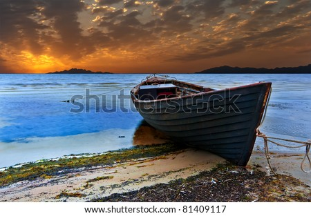 The old fishing boat at sunset, Baltic Sea
