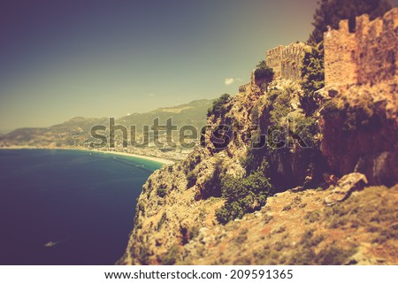 The old fortress and Mediterranean sea in Alanya, Turkey. Filtered image:cross processed vintage effect.