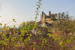 The old Hanstein Castle near Rimbach Bornhagen in Germany. One of Germany biggest castle ruins from the middle age