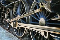 The old iron railway locomotive wheels.