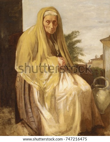 The Old Italian Woman, by Edgar Degas, 1857, French impressionist painting, oil on canvas. Degas spent 1856-59 in Italy where he made this realist portrait of an elderly women