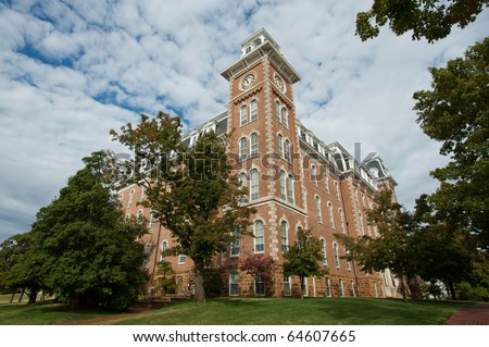 The Old Main clock tower - oldest building on the University of Arkansas campus