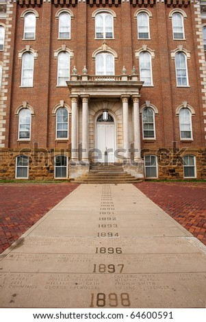 The Old Main with Senior Walk - oldest building on the University of Arkansas campus