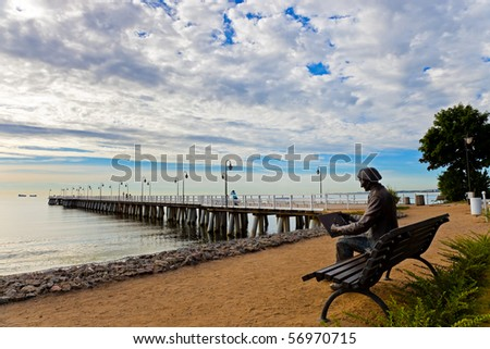 The old man longed for the sea. Pier in Orlowo, Poland.