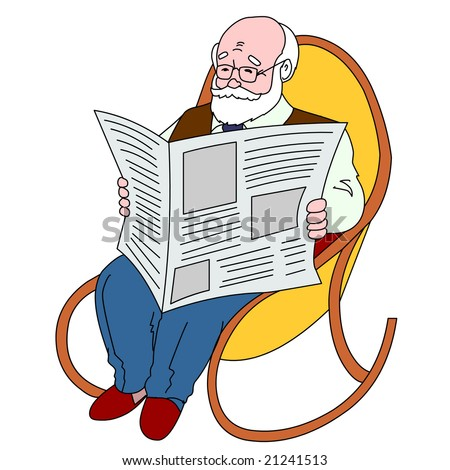 The old man reading the newspaper sitting in an armchair