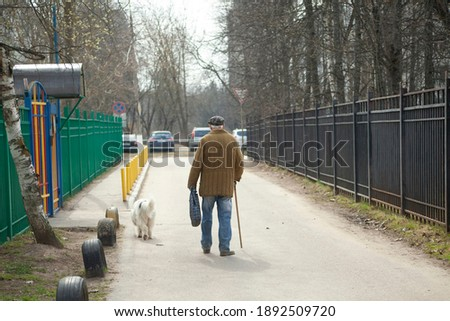The old man walks down the street. An elderly man with a stick walks forward. Grandpa is walking the dog. Retired in Russia. Elderly man 90 years old. Lame man. Photo stock ©