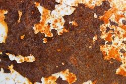 The old metal texture plate has rust. The old metal paint peeling.