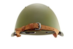 The old military helmet, isolated on white.