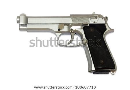 The old modern pneumatic gun on white background