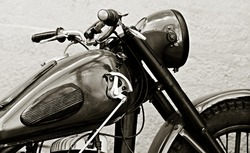 The old motorcycle. Grunge