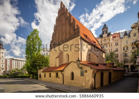 The Old-New Synagogue is the oldest active synagogue in Europe, completed in 1270 and is home of the legendary Golem of Prague Photo stock ©