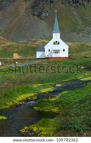 The old Norwegian church at the former whaling station of Grytviken in South Georgia