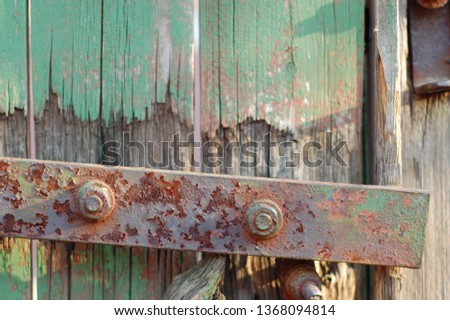 the old. old wood. old iron. rust. door hinge. #1368094814