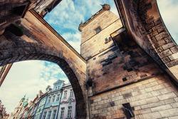 The old part of Prague taken from Charles Bridge, Czech Republic - art photography