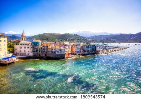 The Old Part of Saint-Florent on Corsica Photo stock ©