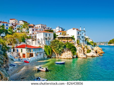 the old part of town in island Skiathos in Greece