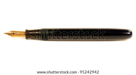 The old pen with gold nib isolated on white background