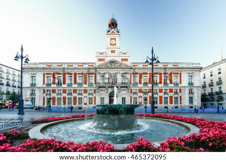 Shutterstock The old Post office at Puerta del Sol, Km 0, Madrid, Spain
