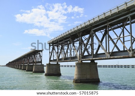 The old Railroad Bridge on the Bahia Honda Key in the Florida keys