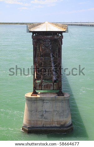 The old Railroad Bridge on the Bahia Honda Key in the Florida keys